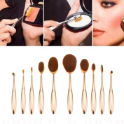 Yoyorule 10pcs Beauty Toothbrush Shaped Foundation Power Makeup Oval Cream Puff Brushes