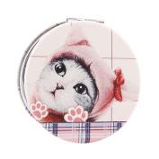 Damara Girls Cute Print Round Compact Cosmetic Mirror,E