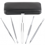 Jack & Rose Blackhead Remover Tool 5 Piece Pimple Extractor Set - Easy and Safe to Remove Acne, Whiteheads, Ingrown Hair