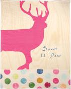 Manual Pop Art Deer By Claudia Schoen Dye Print Plush Baby Nursery Blanket SAPADR 80cm x 100cm Pink