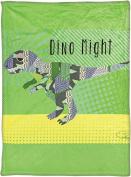 Manual Pop Art T-Rex By Claudia Schoen Dye Print Plush Baby Nursery Blanket SAPATR 80cm x 100cm Green