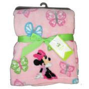 Disney Baby Girls Pink Minnie Mouse Printed Comfy Fluffy Plush Blanket