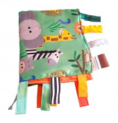 Sensory Baby Blanket Educational Shapes - Jungle Friends Lion Elephant Zebra Giraffe 14x18 Lovey