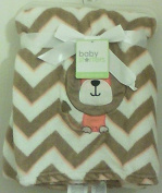 Baby Starters Dog Embroidred on Brown/Orange/Ivory Chevron Baby Blanket