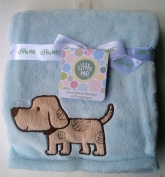 Little Me Baby Coral Plush Blanket With Applique Crinkle Puppy Light Blue 30x40
