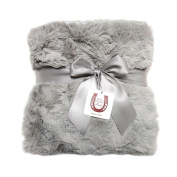 Max Daniel Luxe Grey Bunny Baby Blanket - Double-Sided - Grey Piped Edge - Soft