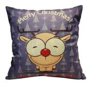 Ikevan Merry Christmas Decoration Hot Selling Square Pillow Case Retro Linen Blend Pillowcase Sofa Waist Throw Cushion Pillow Cover (46cm x 46cm )