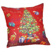 Ikevan Christmas Hot Selling Square Pillow Case Retro Linen Blend Pillowcase Sofa Waist Throw Cushion Pillow Cover Home Decor (46cm x 46cm )