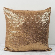 ShinyBeauty Sequin Pillow Cover-30cm x 30cm ,Sequin Pillow Case,Sequin Cushion Covers,Throw Pillow Case-DarkGold