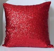 ShinyBeauty Sequin Pillow Cover-30cm x 30cm ,Sequin Pillow Case,Sequin Cushion Covers,Throw Pillow Case-Red