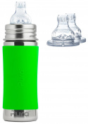 Pura Kiki Stainless Steel 330ml Toddler Sippy Bottle with Green Silicone Plus 2 Extra XL Sipper Spouts