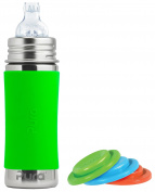 Pura Kiki Stainless Steel Toddler Sippy Bottle with Green 330ml, Plus Set of 3 Silicone Sealing Discs