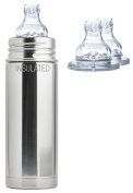 Pura Kiki Stainless Steel 270ml Vacuum Insulated Toddler Sippy Bottle, Natural, Plus 2 Extra XL Sipper Spouts
