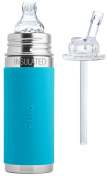 Pura Kiki Stainless Steel 270ml Vacuum Insulated Toddler Sippy Bottle, Aqua, Plus 1 Extra Straw