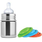 Pura Kiki Stainless Steel Infant Bottle, Natural, 150ml, Plus Set of 3 Silicone Sealing Discs