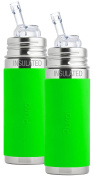 Pura Kiki Stainless Steel Vacuum Insulated Straw Bottle with Green Silicone Sleeve 270ml, Set of 2