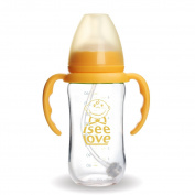 I See Love BPA Free Natural Feel Anti Colic Bottle, Clear, 260ml