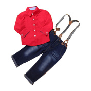 Toraway Child Kids Baby Boys Red Shirt+Braces Trousers Clothes Outfits