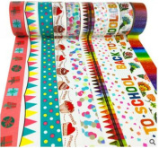 10 Pack Colourful Decorative Washi Masking Tapes Set