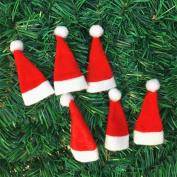 FreshZone 10pcs Mini Christmas Hat Red Santa Hats 10PC Christmas Decorative Tableware Knife Fork Set Christmas Hat Storage Tool Wine Bottle Covers