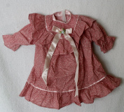"Porcelain Doll Cloth,Cotton & Satub Bow Dress Collar W. 8 cm, Shoulder W. 13 cm, Sleeve L. 13.5 cm, Cuffs W .5 cm, Bust W. 18 cm, Overall L. 30 cm..,May Fit 21 "" Doll"