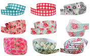 Other 9 X 1M Length 22mm Wide Checked Flowers Assorted Crafts Grosgrain Ribbon Bundle
