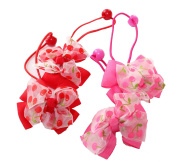 Colourful Baby World 2 Pairs Of Girls Cherry Red Pink Grosgrain Ribbon Bobbles