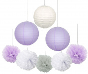 Furuix 16 pcs White Lavender Grey 25cm 20cm Tissue Paper Pom Pom Paper Lanterns Mixed Package for Lavender Themed Party Wedding Paper Garland, Bridal Shower Decor Purple Baby Shower Decoration