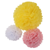 Sun Goodtimes Tissue Paper Flowers of 8, 10, 36cm , 18 Pieces, 3 Count Assorted Colours