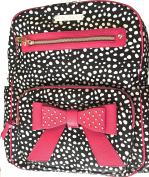 Betsey Johnson Black and Pink Pick Polk A Dot Nappy Backpack Bag