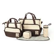 CapriccioSu Nappy Bag 5-in-1 Multifunction Mom's Bag Large Capacity Travel Tote Bag