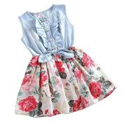 SysPod(TM) Girls Dress Summer Girl Flower Dress Baby Sleeveless Dresses Children Denim Dresses Kids Party Princess Clothes YYT257