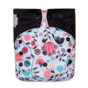 """Kawaii Baby Printed One Size Cloth Nappy with 2 Microfiber Inserts """" Chicks """""""