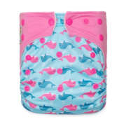 """Kawaii Baby Printed One Size Cloth Nappy with 2 Microfiber Inserts """" Pink Dophin """""""