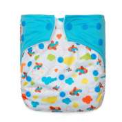 """Kawaii Baby Printed One Size Cloth Nappy with 2 Microfiber Inserts """" Aeroplanes """""""
