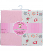 Honey Baby 2-Pack Fitted Crib Sheets - white/multi, one size