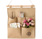 Cotten Jute Wall Door Closet Anchor Pattern Hanging Storage Bag with 5 Pockets Home Decoration