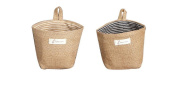 2Pcs Foldable Burlap Bag Sack Cloth Hanging Storage Bag with Lining Stripe Pattern 14cm x 12cm