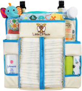 "Baby Nursery Organiser & Nappy Caddy by Little DMoose (15"" X 14"") – Plastic Back Support for Added Stability, Reinforced Shelves, Strong Hook and loop, Smart Hooks and Eyelets for Hanging"