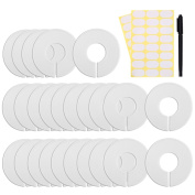 Caydo 25 Pieces Clothing Size Dividers Round Hangers Closet Dividers with Marker Pen