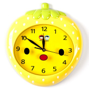 Wall Clocks For Kids (Yellow Strawberry) - Fun Colourful Design For Boy & Girls Room. Silent Non-Ticking Hand Best For Bedroom Nursery Playroom & Classroom Decor Great For Teaching A Child To Read Time
