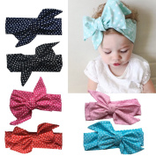 Baby Headbands 6Pcs Baby Girls Kids Children Toddlers Polka Dot Cotton Hair Hoops Soft Headbands With Big bows