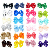 Hair Bow Clips 24Pcs 7.6cm Baby Girls Children Kids Toddlers Polk Dot Grosgrain Ribbon Boutique Hair Bows with Alligater Clips