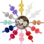 Baby Headbands 10cm 12pcs Baby Girls Toddlers Hair Bow Headbands with Large Chiffon Bows Ribbon Bands