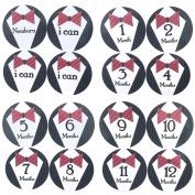 16 PCS Baby Boys Monthly Belly Sticker Necktie Tie Milestone Onesie Stickers First Holiday Shower Gift Or Scrapbook Photo Keepsake