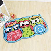 Kids Rug Cartoon Owl Carpet Children Area Rug - for Bedroom Playroom & Nursery -Non Skid Gel Backing (70cm x 120cm )