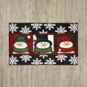 Groveland 3 Snowman Faces Black Area Rug by Charlton Home