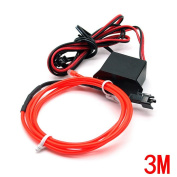 Water & Wood 2Pcs 3M/9.84 Feet Neon El Wire with Driven Switch for Decoration of Vehicle, House, Outdoor, Commerical Purposes-Red Light