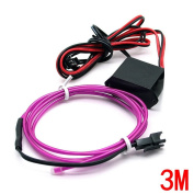 Water & Wood 2Pcs 3M/9.84 Feet Neon El Wire with Driven Switch for Decoration of Vehicle, House, Outdoor, Commerical Purposes-Purple Light