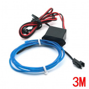 Water & Wood 2Pcs 3M/9.84 Feet Neon El Wire with Driven Switch for Decoration of Vehicle, House, Outdoor, Commerical Purposes-Blue Light